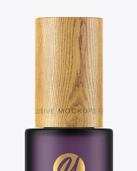 Frosted Glass Bottle W/ Wooden Cap Mockup