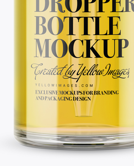 Clear Glass Dropper Bottle With Metal Cap Mockup