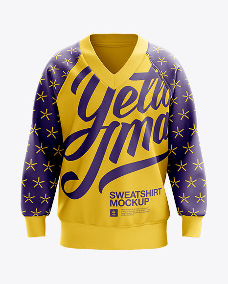 V-Neck Sweatshirt Mockup  - Front View