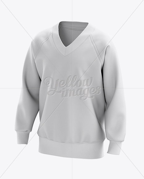 V-Neck Sweatshirt Mockup  - 3/4 View