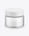 Frosted Glass Cosmetic Jar Mockup - Front View (High-Angle Shot)