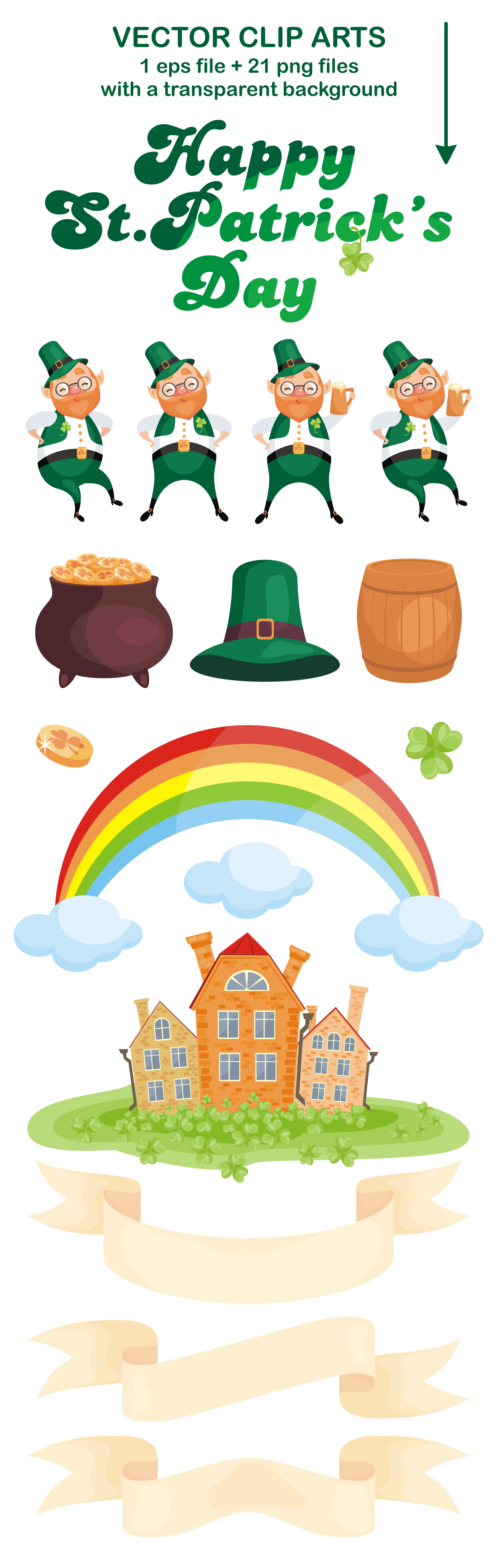 Happy st.Patricks Day. Vector clip arts and seamless patterns.