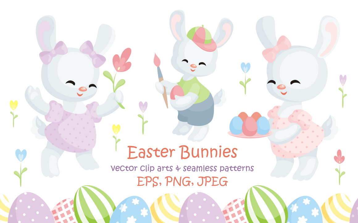 Easter bunnies. Vector clip arts and seamless patterns.