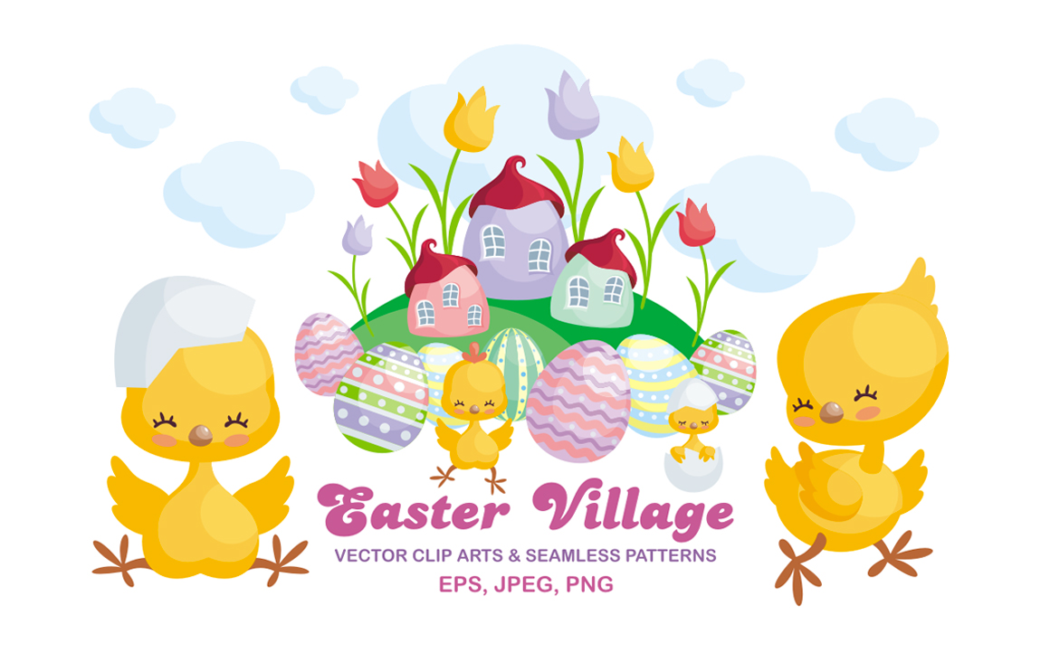 Easter village. Vector clip arts and seamless patterns.