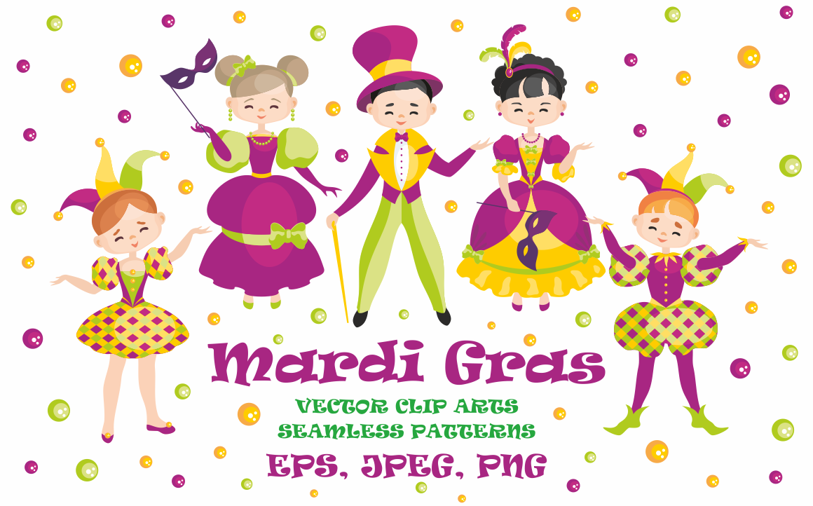 Mardi Gras mini set. Vector clip arts and seamless patterns.