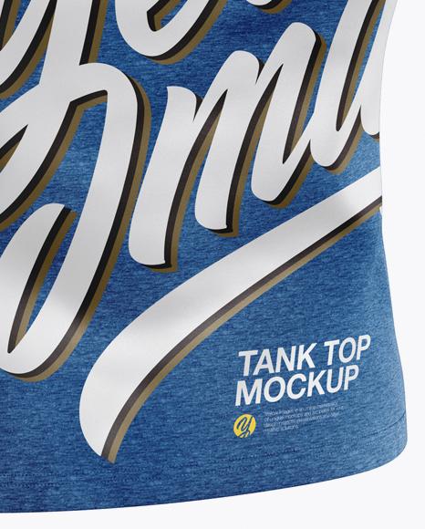 Melange Tank Top Mockup - Back Half Side View