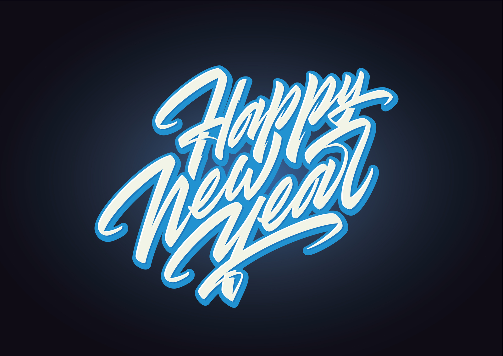 Happy New Year Brush Script Lettering