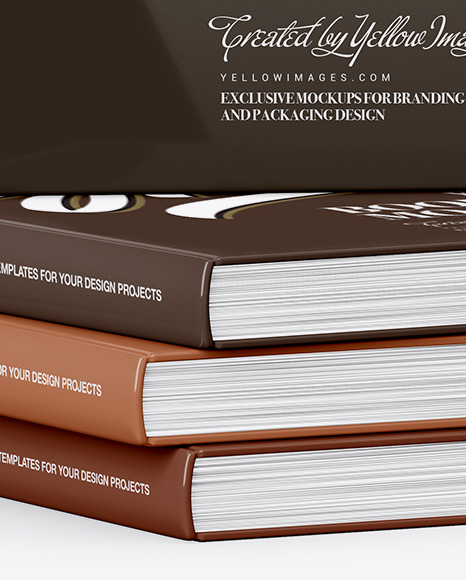 Download Glossy Covered Books Mockup In Stationery Mockups On Yellow Images Object Mockups PSD Mockup Templates