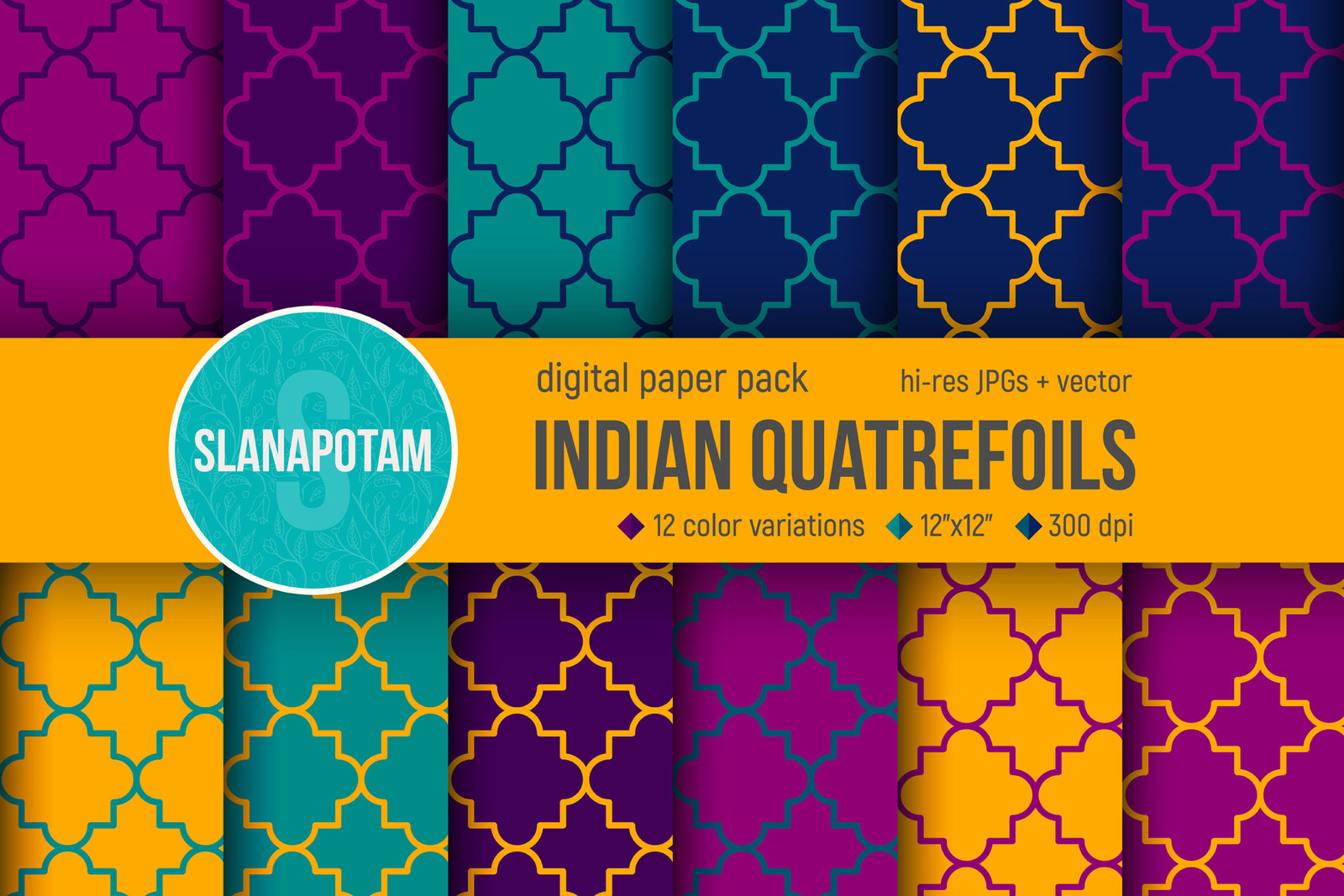 Indian Quatrefoils Digital Paper Pack