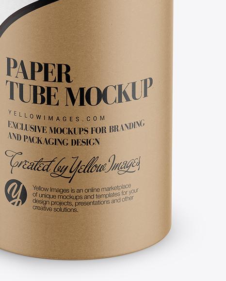 Kraft Paper Tube Mockup - Front View (High-Angle Shot)