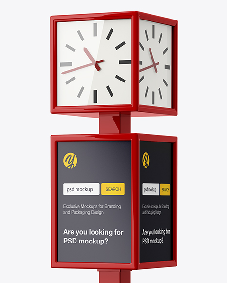 City Clock Advertising Mockup - Half Side View