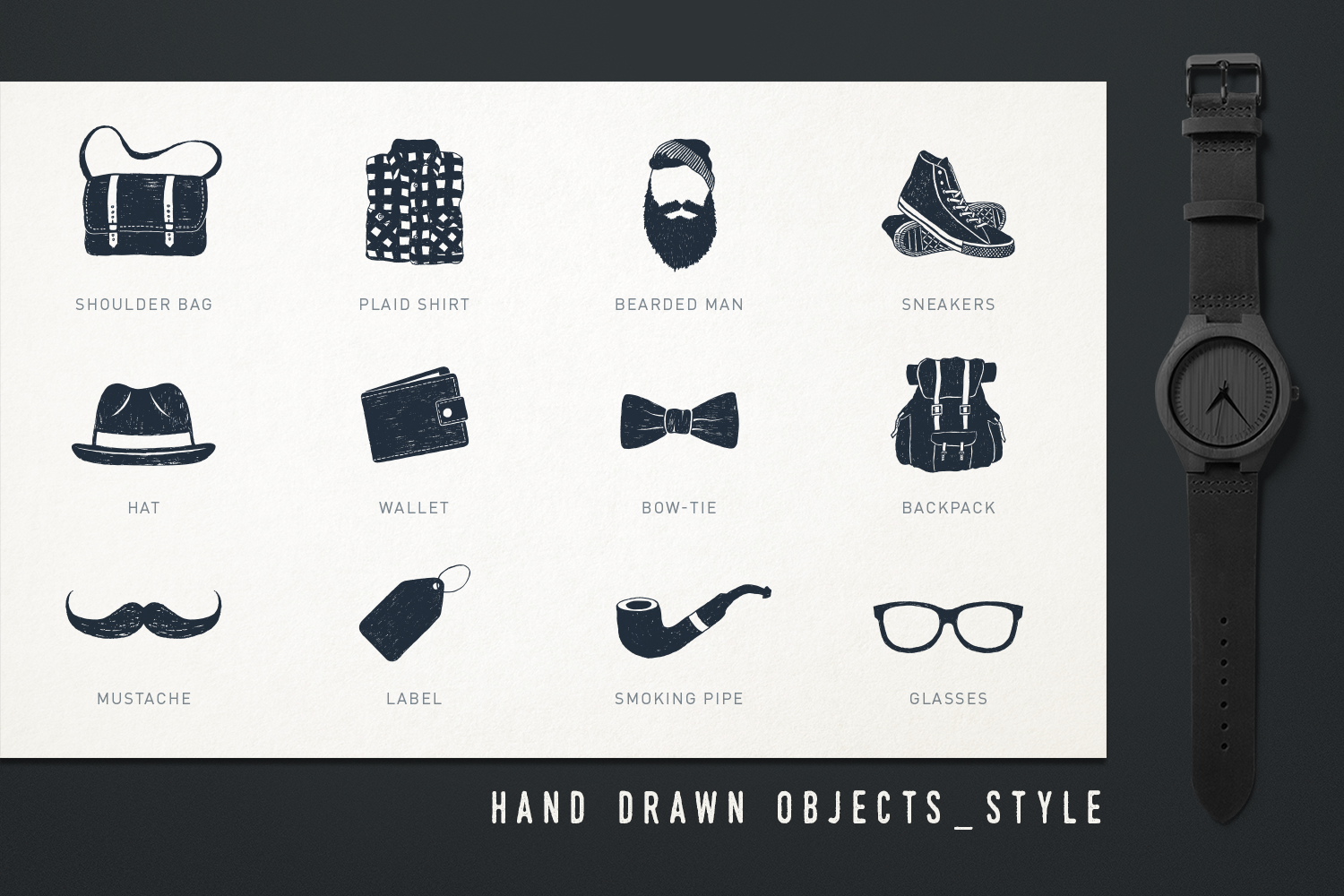 Mr.Hipster. 37 Hand Drawn Objects