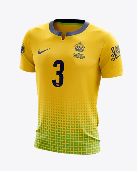 Soccer T-Shirt Mockup - Half-Side View