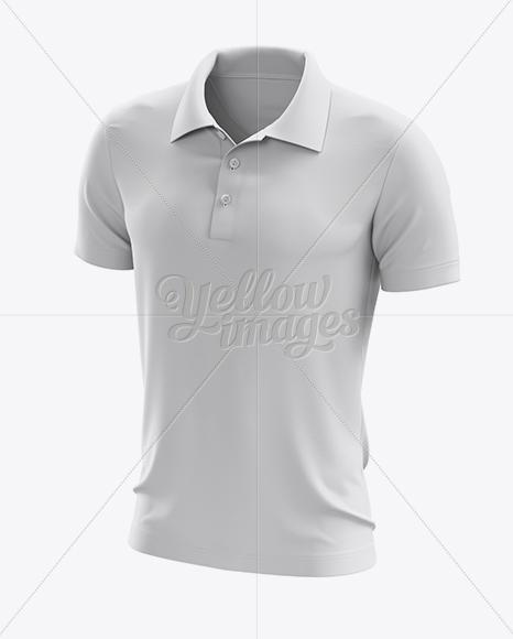 Soccer Polo T-Shirt Mockup - Halfside View