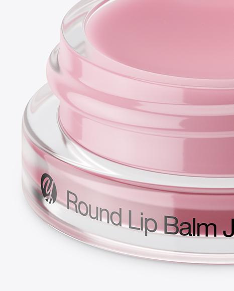 5ml Opened Lip Balm Jar with Metallic Cap Mockup (High-Angle Shot)