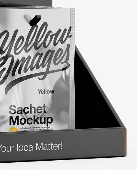 Display with Sachets Mockup - Half Side View