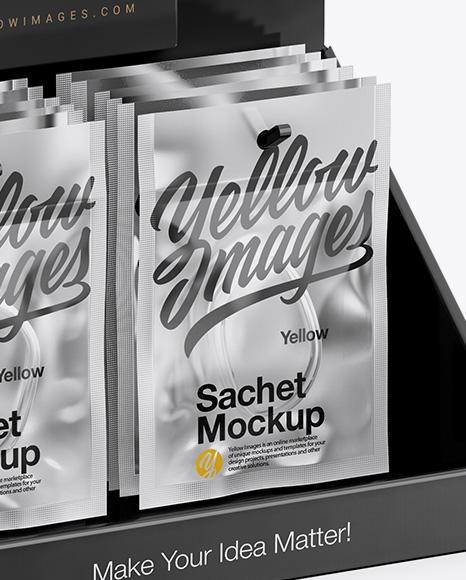 Display with Sachets Mockup - Half Side View (High Angle Shot)