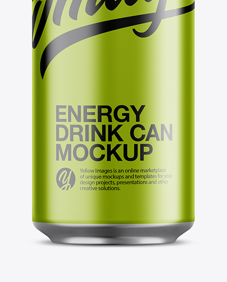 Aluminium Can With Metallic Finish Mockup - Front View
