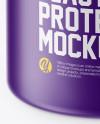 Matte Plastic Protein Jar Mockup (High-Angle Shot)
