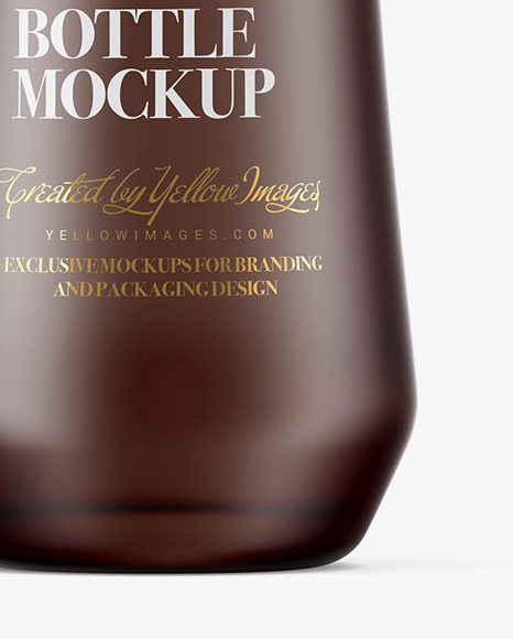 Frosted Glass Cosmetic Bottle W/ Wooden Cap Mockup