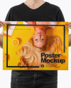 Man With A3 Poster Mockup