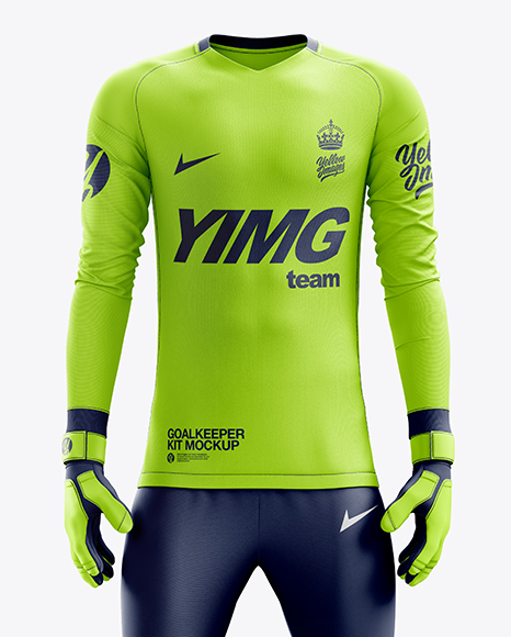 Men's Full Soccer Goalkeeper Kit with Pants mockup (Front