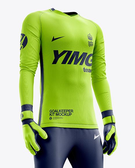 Men's Full Soccer Goalkeeper Kit with Pants mockup (Hero Shot)