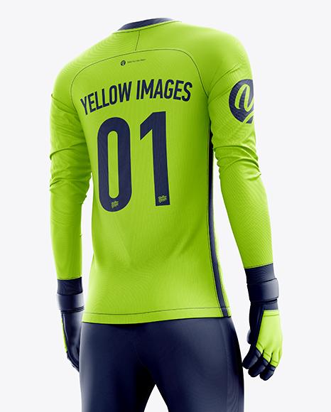 Men's Full Soccer Goalkeeper Kit with Pants mockup (Hero Back Shot)