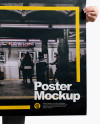 Man With A1 Poster Mockup