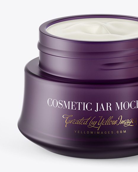 Opened Frosted Glass Cosmetic Jar W/ Wooden Cap Mockup