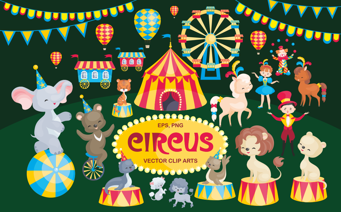 Circus. Vector clip arts.