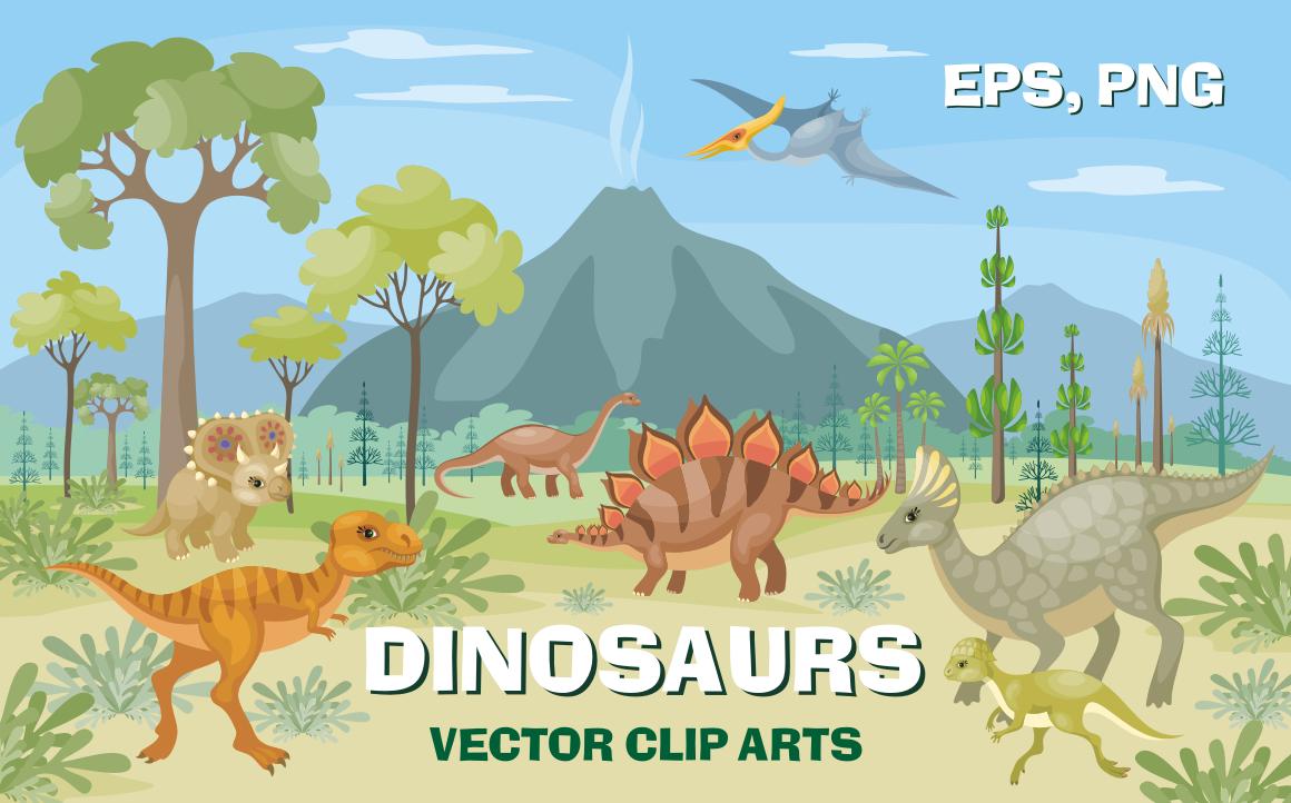 Dinosaurs. Vector clip arts.