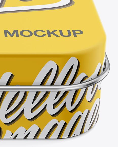 Download Matte Round Tin Box Mockup Front View High Angle Shot PSD - Free PSD Mockup Templates