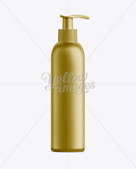 Gold Plastic Cosmetic Bottle with Batcher - 200 ml