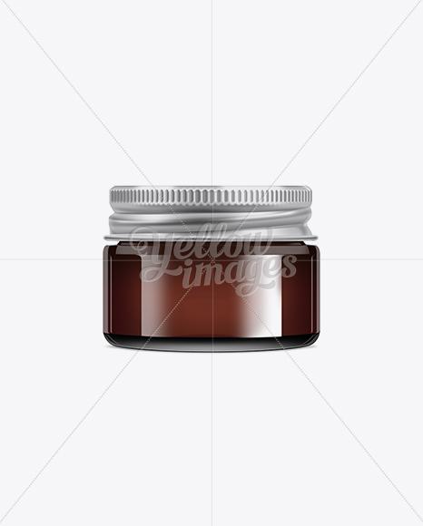 Dark Brown Glass Jar With Metal Lid - 50ml