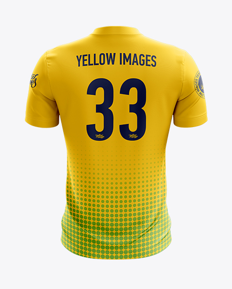 Download Soccer Jersey Mockup Back View In Apparel Mockups On Yellow Images Object Mockups PSD Mockup Templates