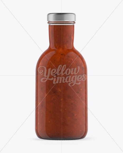 Salsa Bottle with Paper Label Mockup