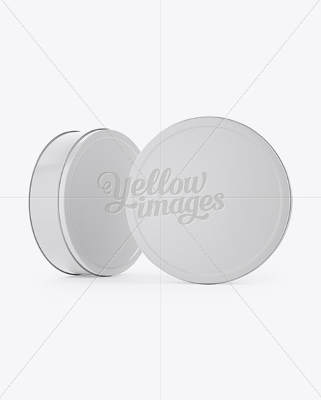 Download Two Round Tin Cans Mockup In Can Mockups On Yellow Images Object Mockups PSD Mockup Templates