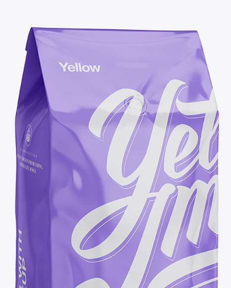 2,5 kg Glossy Coffee Bag With Valve Mockup - Half-Turned View