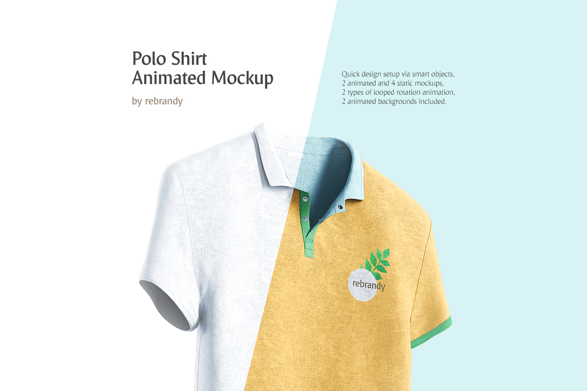 Polo Shirt Animated Mockup In Apparel Mockups On Yellow Images