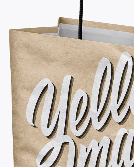 Free Download Kraft Paper Shopping Bag Mockup Halfside View PSD - Free PSD Mockup Templates
