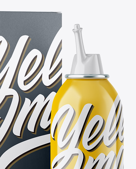 Glossy Spray Bottle Glossy Paper Box Mockup