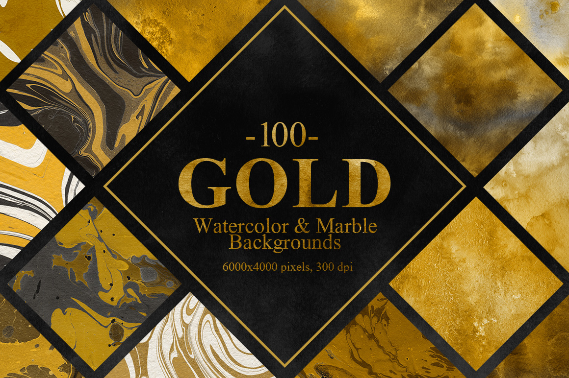 Gold Watercolor&Marble Backgrounds
