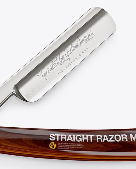 Straight Razor With Wooden Handle Mockup