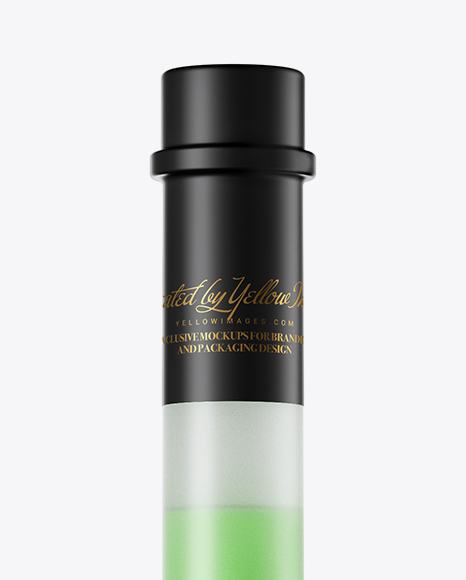 Frosted Glass Green Liqueur Bottle Mockup