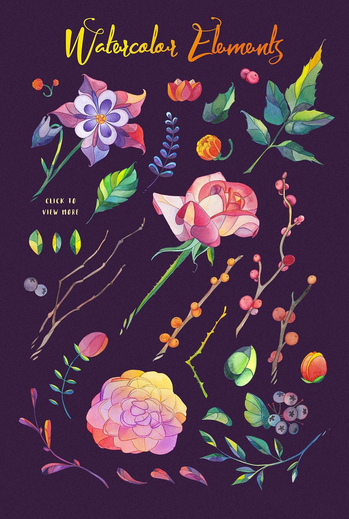 Lunar Flower Watercolor Graphic Kit