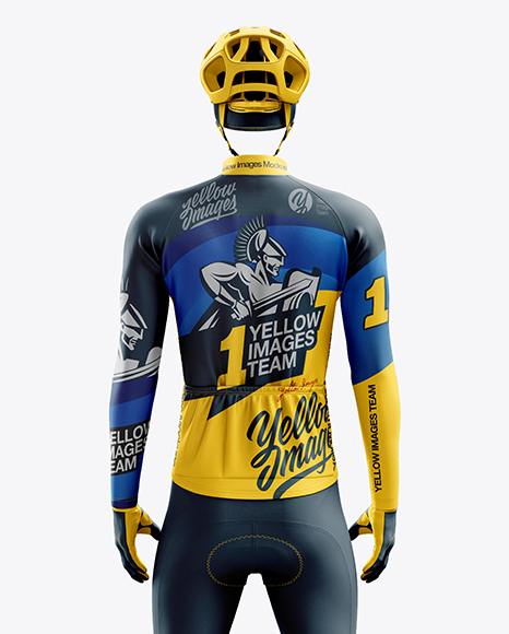 Download Mens Cycling Wind Vest Mockup Back View Yellow Images