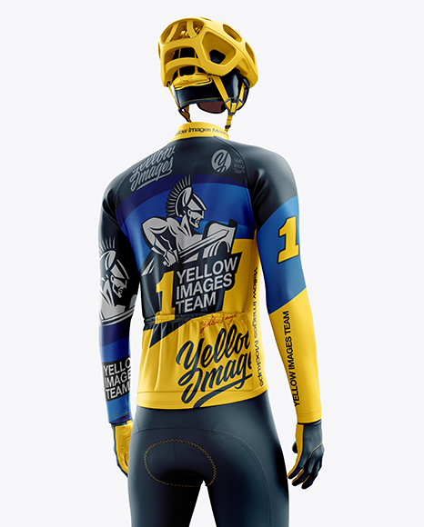 Men's Full Cycling Thermal Kit mockup (Hero Back Shot)