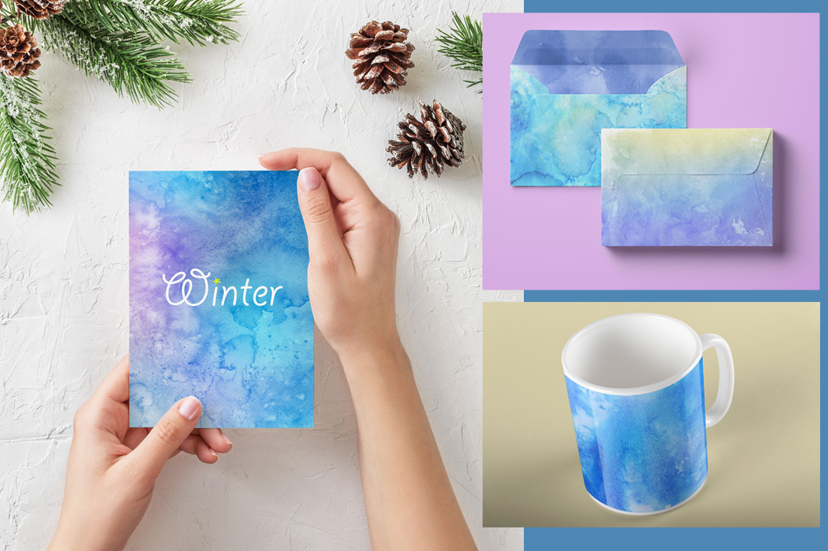 30 Winter Watercolor Backgrounds
