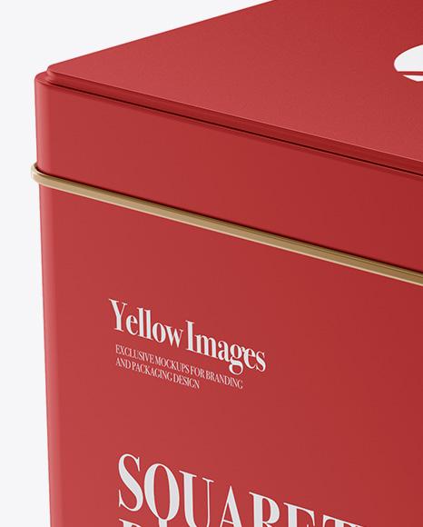 Matte Metallic Square Tin Box Mockup - Half Side View (High-Angle Shot)